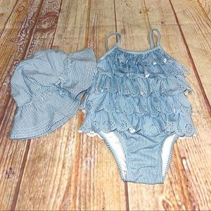 Baby gap swimsuit and matching bucket hat 18/24m
